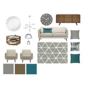 Digital moodboard with white, green, silver and brown accessories and furniture