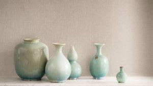 Decorative homemade green vases
