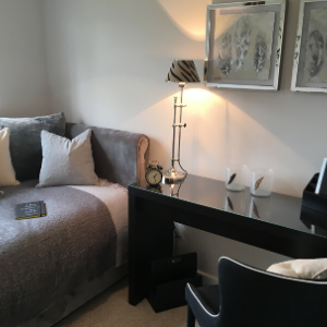 Grey sofa bed with grey cushions, black desk, black chair and decorative items