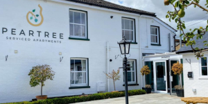 Entrance to Peartree Serviced Apartments in Salisbury